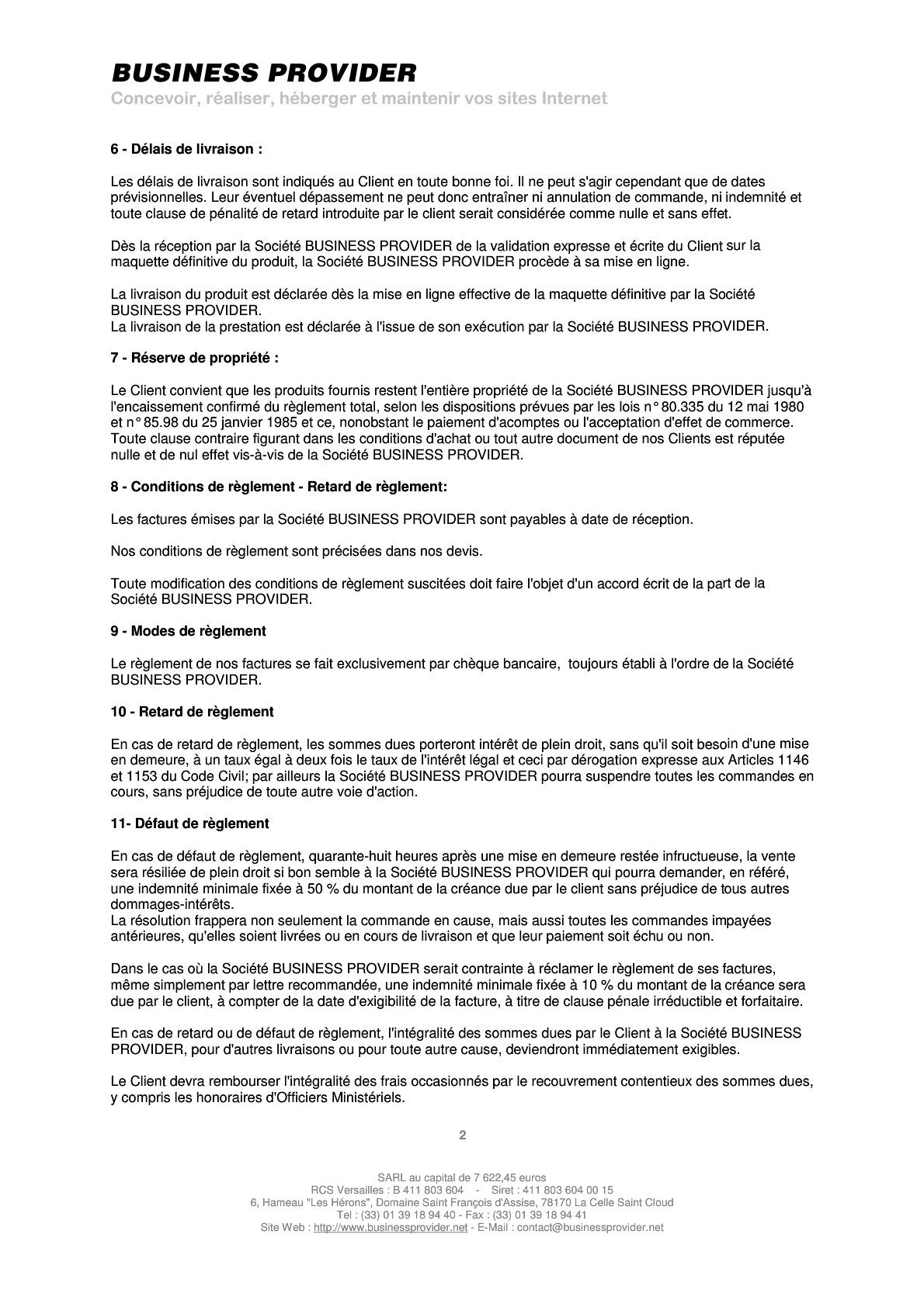 Conditions Generales De Vente Business Provider Agence Web